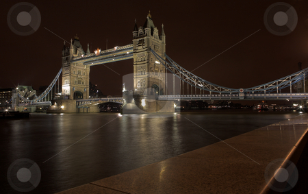 Tower Bridge #2 stock photo, The bascule Tower bridge in London, Night Scene over the Thames by Sean Nel
