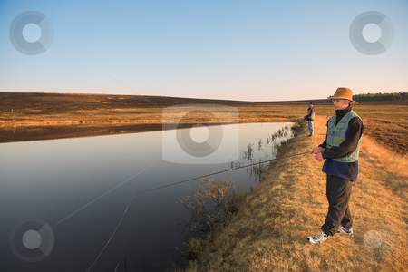 Flyfishing #25 stock photo, Fly fishermen casting a line in Dullstroom, South Africa by Sean Nel