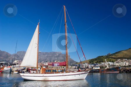 Yacht stock photo, Yacht at Cape Town Harbour, South Africa by Sean Nel