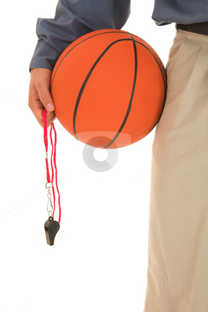 Coach #22 stock photo, Basket ball and whistle being held on the side of a man's hip. by Sean Nel