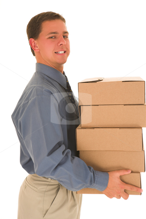 Businessman#81 stock photo, Man carrying boxes. by Sean Nel