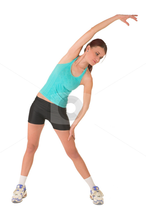 Gym #111 stock photo, Woman stretching. by Sean Nel