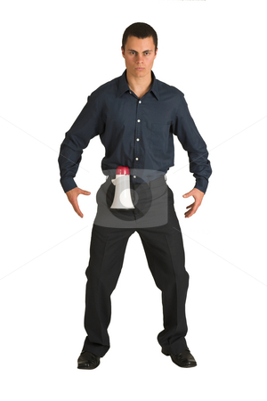 Businessman #223 stock photo, Businessman in a blue shirt, playing with a megaphone as if it is a gun. by Sean Nel