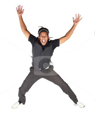 Handsome African businessman stock photo, Handsome African businessman with long hair in black suit jumping and screaming on white background. NOT ISOLATED by Sean Nel