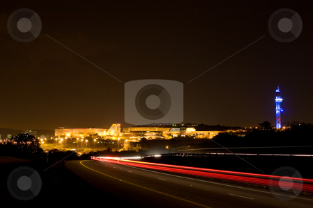 City at night stock photo, University of South Africa, Pretoria at night time - copy space by Sean Nel