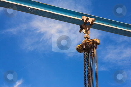 Industrial lifting winch and chain stock photo, Industrial lifting winch motor with lifting chain and running beam by Sean Nel