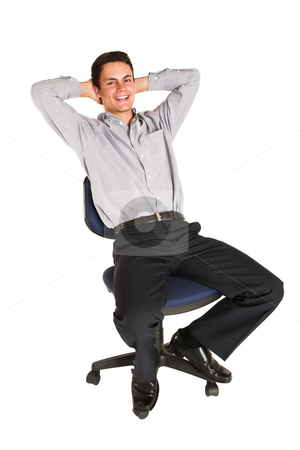 Businessman #101 stock photo, Businessman relaxing on an office chair by Sean Nel