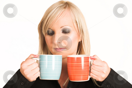 Business Woman #299 stock photo, Blond business woman dressed in black trousers and a black shirt.  Holding two mugs. by Sean Nel