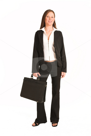 Business Woman #201(GS) stock photo, Business woman dressed a suit.  Holding a black leather suitcase by Sean Nel
