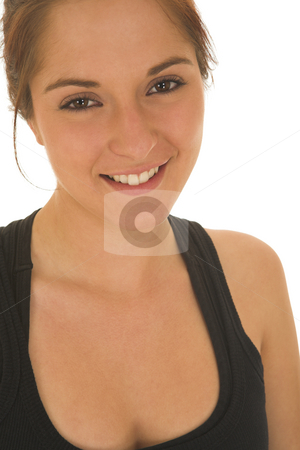 Gymbunny #19 stock photo, Brunette with black top and trainers by Sean Nel