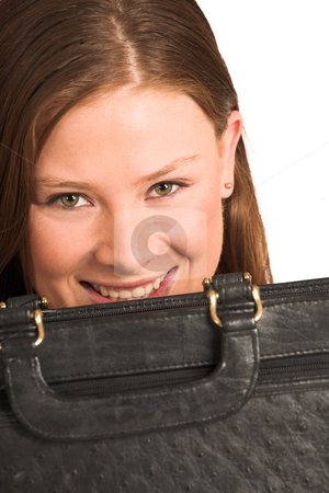 Business Woman #205(GS) stock photo, Business woman hiding behind a black leather suitcase by Sean Nel