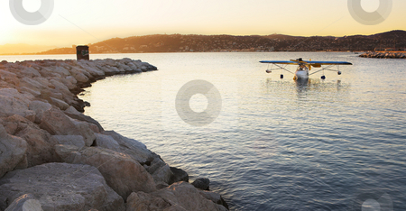 Float plane stock photo, A seaplane (microlight) in a private bay - Antibes (Juan Les Pins), France by Sean Nel