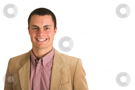 Businesswoman #197 stock photo, Businessman in a pink shirt and camel coloured jacket, smiling. by Sean Nel