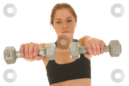 Gymbunny #32 stock photo, Brunette with black top with weights by Sean Nel