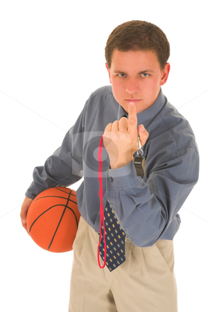 Coach #19 stock photo, Man looking upset, holding a basketbal, calling you.l by Sean Nel