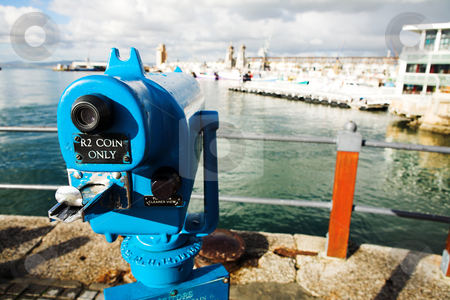 Tourist viewer stock photo, Coin operated view finder or telescope at the Cape Town Waterfront and port area by Sean Nel