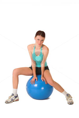 Gym #181 stock photo, Woman sitting on gym ball. by Sean Nel