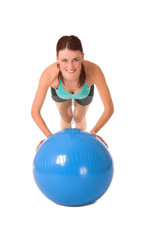 Gym #170 stock photo, Woman working out, leaning on gym ball. by Sean Nel