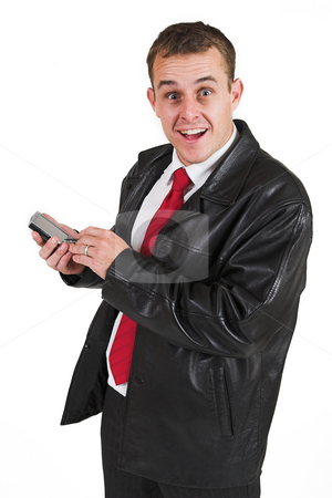 Businessman #31 stock photo, Business man with black leather jacket and PDA by Sean Nel