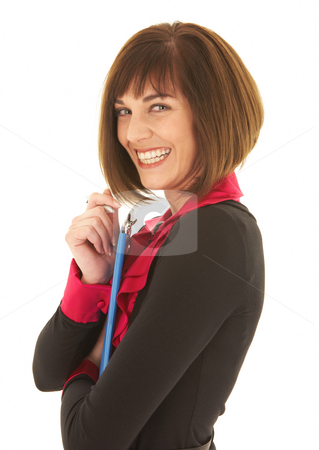 Sexy brunette businesswoman stock photo, Sexy young adult Caucasian businesswoman in a red and black office outfit against a white background holding blue clipboard and pen. NOT ISOLATED by Sean Nel