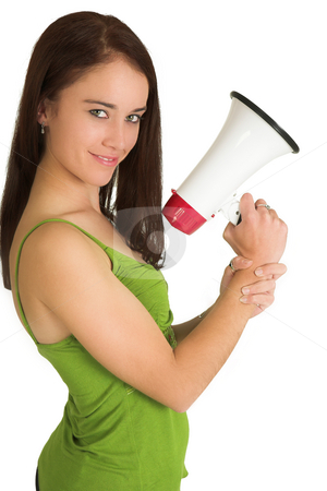 Business Woman #543 stock photo, Portrait of a brunette  woman,, wearing a green top, holding a megaphone by Sean Nel