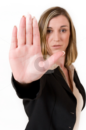 Business Lady #117 stock photo, Business woman in black suit holing up hand.  Shallow DOF, hand in focus, eyes out of focus by Sean Nel