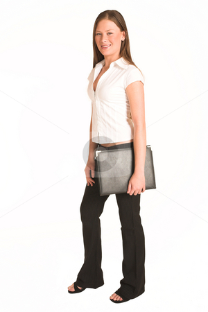 Business Woman #203(GS) stock photo, Business woman dressed white top. Holding a leather file by Sean Nel