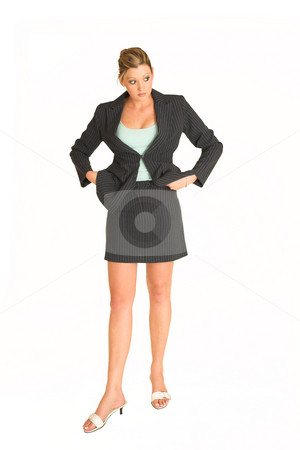 Business Woman #4 stock photo, Business woman standing with hands on her hips, staring - full length, white background by Sean Nel