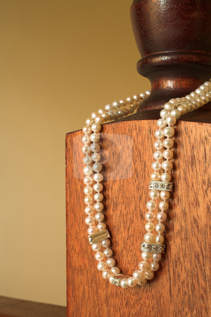 String of Pearls necklace stock photo, Double pearl necklace with silver clasps and spacers by Sean Nel