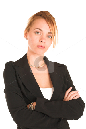 Businesswoman #247 stock photo, Blonde business lady in formal black suit.  Portrait, standing with arms crossed by Sean Nel