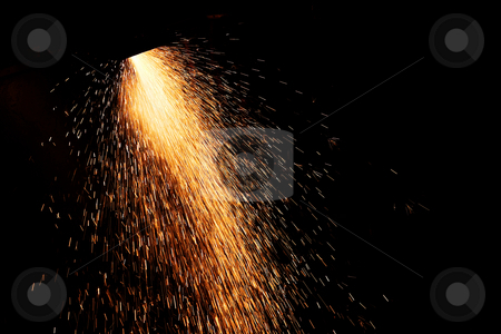 Plasma Cutter #1 stock photo, Sparks from a plasma cutter, cutting through steel by Sean Nel