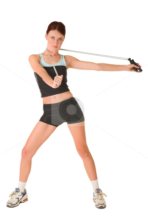 Gym #165 stock photo, Woman in gym wear holding out skipping rope around her neck. by Sean Nel