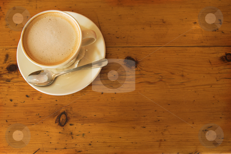 Lunch #33 stock photo, A cup of coffee on a wooden table by Sean Nel