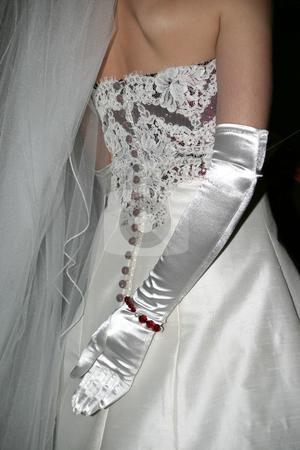 Silk Gloves stock photo, Silk gloved hand behind the bride by Sean Nel