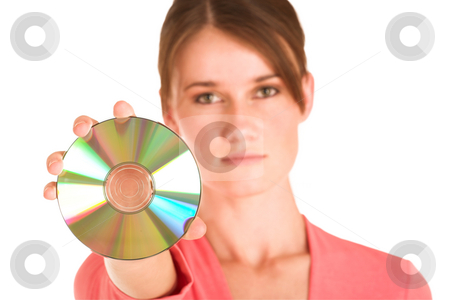 Business Woman #406 stock photo, Brunette business woman in  an informal light pink shirt.  Holding a CD by Sean Nel