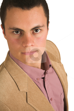 Businessman #207 stock photo, Businessman in a pink shirt and camel coloured jacket, looking serious. by Sean Nel