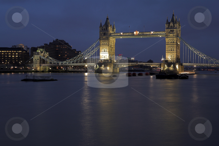 Tower Bridge #7 stock photo, The bascule Tower bridge in London, Night Scene over the Thames - Copy Space by Sean Nel