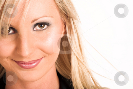 Business Woman #315 stock photo, Blond business woman dressed in a black shirt.Close up.  Copy space by Sean Nel