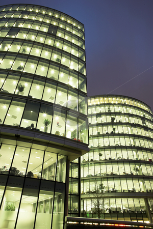 London #47 stock photo, Office block at nighttime. by Sean Nel