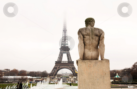 Paris #52 stock photo, A statue in the foreground with the Eiffel Tower in Paris, France.  Copy space. by Sean Nel