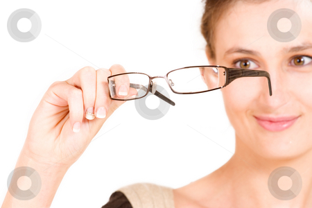 Business Lady #105 stock photo, Business woman holding glasses.  Shallow DOF - glasses in focus, eyes out of focus by Sean Nel