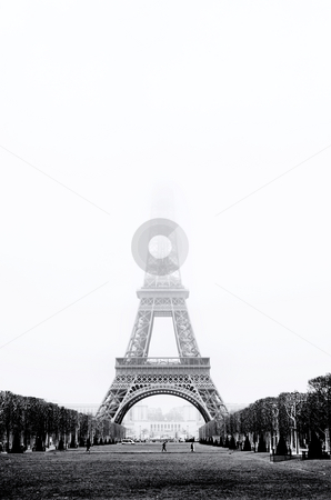 Paris #31 stock photo, The Eiffel Tower in Paris, France. Black and white - Copy space. by Sean Nel