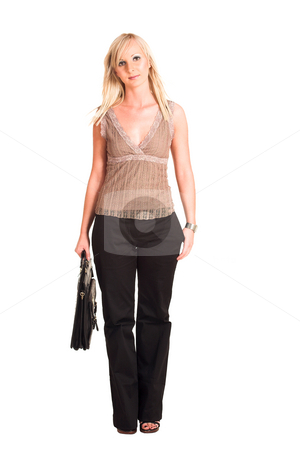 Business Woman #313 stock photo, Blond business woman dressed in black trousers and a beige shirt.  Holding a black leather suitcase. by Sean Nel
