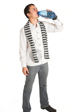 Franscois Booysen #2 stock photo, Man with white pinstripe shirt and scarf with bottled water in hand. by Sean Nel