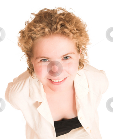 Woman #78 stock photo, Woman looking up, smiling.   Head in focus, rest of her body out of focus. by Sean Nel
