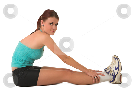 Gym #129 stock photo, Woman in gym wear, sitting and stretching. by Sean Nel