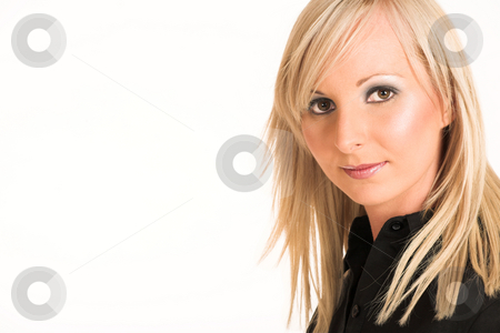 Business Woman #291 stock photo, Blond business woman dressed in a black shirt.  Copy space by Sean Nel