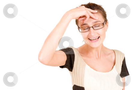Business Lady #91 stock photo, Business woman with eyes closed, laughing while holding her head by Sean Nel