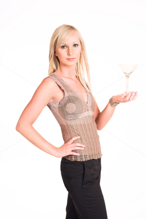 Business Woman #311 stock photo, Blond business woman dressed in black trousers and a beige top.  Holding a martini glass. by Sean Nel