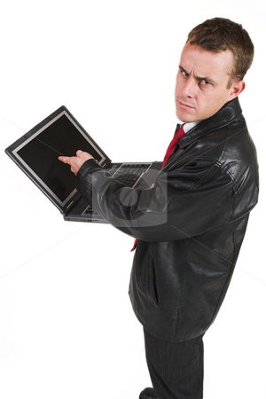 Business man #16 stock photo, Business man in a suit with a notebook computer by Sean Nel
